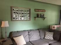 After: Green Walls, Neutral Carpet, with Rustic Decor